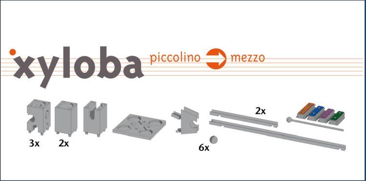 Xyloba piccolino zu mezzo Kugelbahn Erweiterung - 22 Teile
